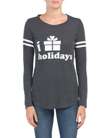 CHASER I Love Holidays Long Sleeve Knit Top