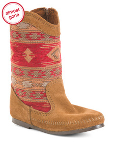 MINNETONKA Suede And Tapestry Western Boots