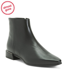 MA&LO Made In Italy Pointy Toe Leather Booties