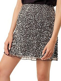 French Connection Eero Sequined Skirt SILVER