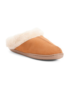 MINNETONKA Faux Fur Lined Suede Slippers