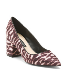 NINE WEST Tiger Print Block Heel Pumps