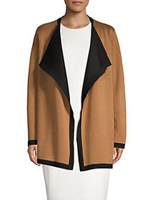 Anne Klein Contrasting Open-Front Cardigan VICUNA