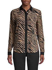 Anne Klein Oasis Tiger-Print Blouse VICUNA BLACK