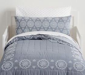 Pottery Barn Remi Chambray Eyelet Toddler Quilt