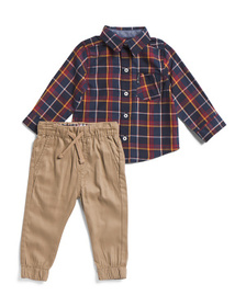 BEN SHERMAN Infant Boys 2pc Woven Top & Joggers Se