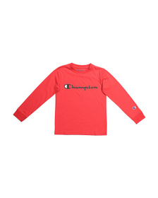 CHAMPION Big Boys Horizontal Script Long Sleeve Te