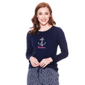 Nautica Long Sleeve Round Neck Solid Logo Front Te
