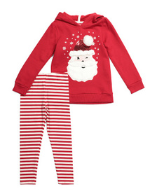 JINGLES & JOY Girls 2pc Santa Hoodie Legging Set