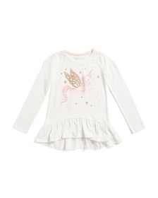 CYNTHIA ROWLEY Girls Glitter Wing Unicorn Ruffle T