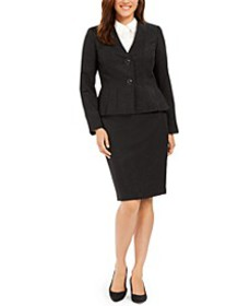 Petite Pleated-Jacket Skirt Suit