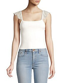 Alice + Olivia Marg Ruffle-Strap Crop Top OFF WHIT
