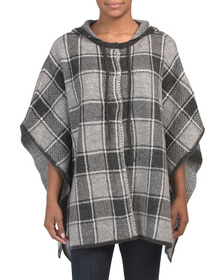 MAX STUDIO Bicolor Plaid Double Knit Hooded Poncho