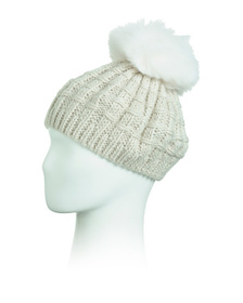 KYI KYI CANADA Chunky Knit Beret With Faux Fur Pom on sale at Marshalls