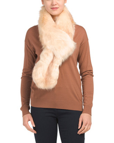 ASPEN Faux Rich Fox Fur Pull Thru Scarf