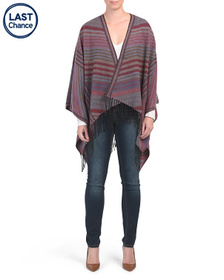 LULLA COLLECTION Striped Ruana With Long Fringe