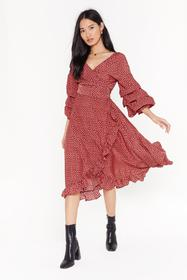 Nasty Gal Pink Give It Your Best Spot Ruffle Midi
