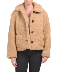 ME JANE Juniors Cropped Button Front Sherpa