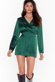 Nasty Gal Emerald Fill the Wrap Satin V-Neck Rompe