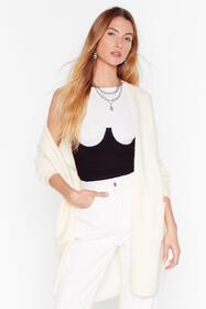 Nasty Gal Cream Knit's Not Been Longline Cardigan