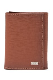 Tallia Trifold Leather Wallet with Burnished Edges