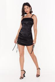 Nasty Gal Black The Ruche-ure is Ours Satin Mini D
