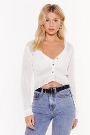 Nasty Gal White Sheer for You Fine Knit Cropped Ca