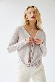 Out From Under Miley Waffle Knit Twist-Front Top