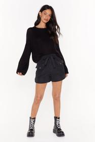Nasty Gal Black We've Got Our Tie on You High-Wais