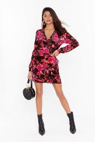 Nasty Gal Pink I'll Grow With You Floral Velvet Dr