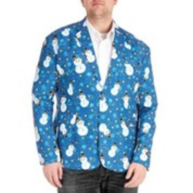 OPPOSUITS Mens 2-Button Happy Snowman Print Holida