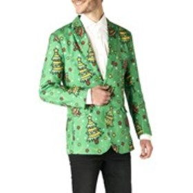 OPPOSUITS Mens 2-Button Christmas Tree Print Holid