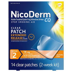 NicoDerm CQ Nicotine Patch, Clear, Step 2 to Quit