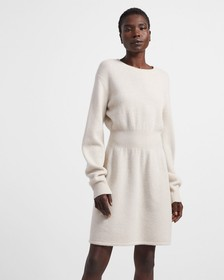 Felted Wool-Cashmere Ribbed Waist Dress