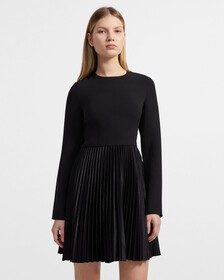 Crepe Pleated Dart Dress