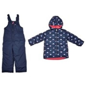 OSHKOSH Girls Solid Snowpants with Hooded Print Pu