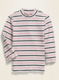 Striped Rib-Knit 3/4-Sleeve Tee for Girls