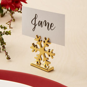 Crate Barrel Gold Snowflake Place Card Holder