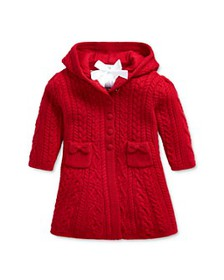 Ralph Lauren - Girls' Cable-Knit Hooded Cardigan -