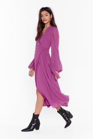 Nasty Gal Pink It's Dot Our Fault Wrap Midi Dress