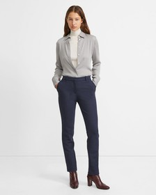 Double Jersey Knit Cropped Tailored Trouser