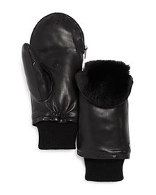 Echo - Faux-Fur Lined Zip-Top Leather Mittens - 10