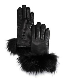Echo - Asiatic Raccoon Fur-Cuff Leather Tech Glove