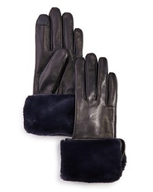 Echo - Faux Fur-Cuff Leather Tech Gloves