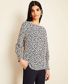 Tall Cheetah Print Boatneck Blouse