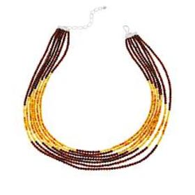 Jay King Sterling Silver 7-Strand Amber & Buttersc