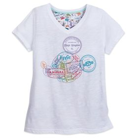 Disney Mickey Mouse Stamp V-Neck T-Shirt for Women