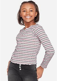 Justice Ribbed Lace Up Long Sleeve Top