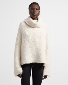 Alpaca Wool Boucle Fold Over Neck Sweater