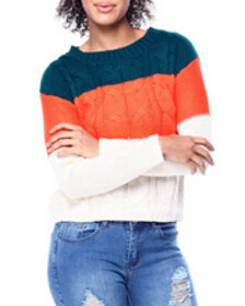Fashion Lab colorblock cable knit l/s sweater
